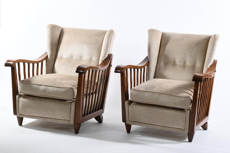 Mid-20th Century Guglielmo Pecorini Italian Midcentury Four Published Armchairs, Velvet Covered For Sale