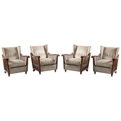 Guglielmo Pecorini Italian Midcentury Four Published Armchairs, Velvet Covered