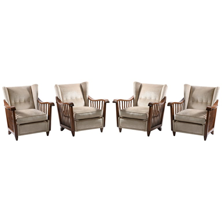 Guglielmo Pecorini Italian Midcentury Four Published Armchairs, Velvet Covered For Sale