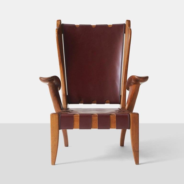 Mid-Century Modern Pair of Highback Armchairs by Guglielmo Pecorini For Sale