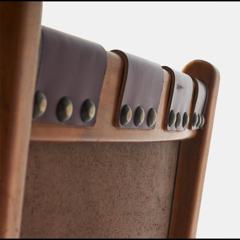Pair of Highback Armchairs by Guglielmo Pecorini In Excellent Condition For Sale In San Francisco, CA