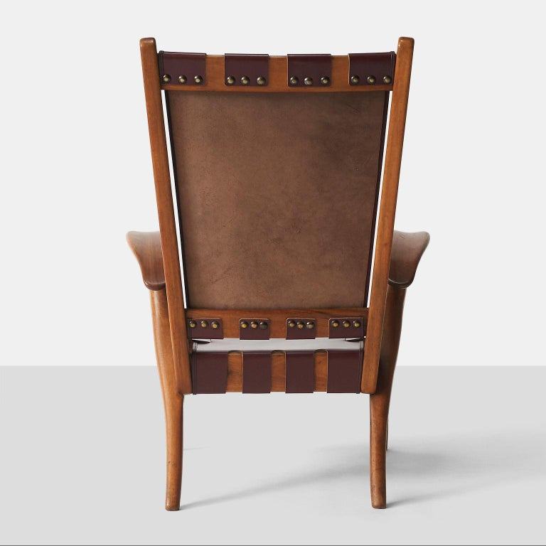 Leather Pair of Highback Armchairs by Guglielmo Pecorini For Sale