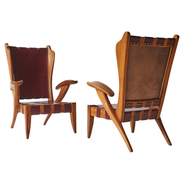 Pair of Highback Armchairs by Guglielmo Pecorini For Sale