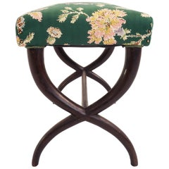 Guglielmo Ulrich 1940 Italian Design Stool in Super Elegant Flowered Green Satin