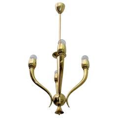 Guglielmo Ulrich Art Deco Italian Brass Chandelier, 1940s