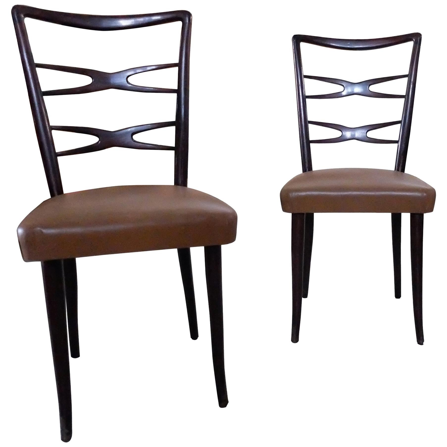 Guglielmo Ulrich, Italian Mid-Century Modern Set of 6 Chairs, 1940s