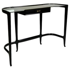 Guglielmo Ulrich Mid Century Italian Black Laquered Wood and Glass Top Console