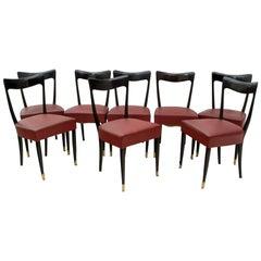 Guglielmo Ulrich Mid-Century Modern Italian Mahogany Eight Dining Chairs, 1940s
