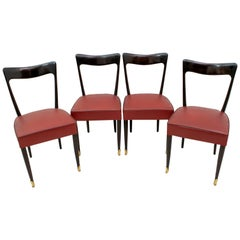 Guglielmo Ulrich Mid-Century Modern Italian Mahogany Four Dining Chairs, 1940s