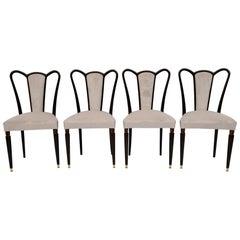 Guglielmo Ulrich Mid-Century Modern Italian Velvet Dining Chairs, 1940s