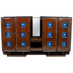 Guglielmo Ulrich Rare Mid-Century Modern Italian Walnut Bar Cabinet, 1940s