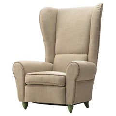 Guglielmo Ulrich Reupholstered Grand Wingback Chair, 1930s