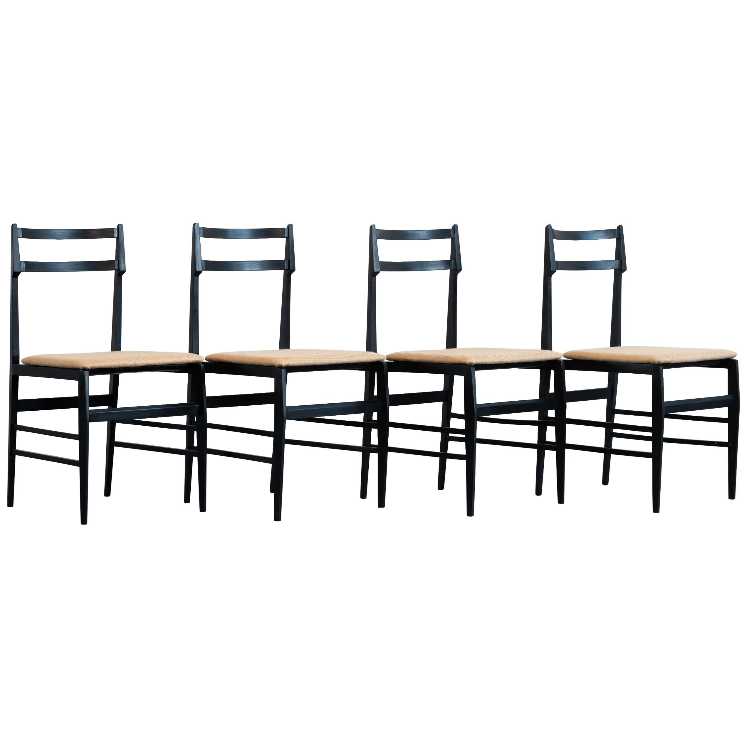Guglielmo Ulrich Set of Four Chairs Ebonized Wood and Fabric for Saffa, 1960