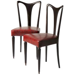 Guglielmo Ulrich Six Dining Chairs, Fully restored, Luxury Red Eel leather 40s