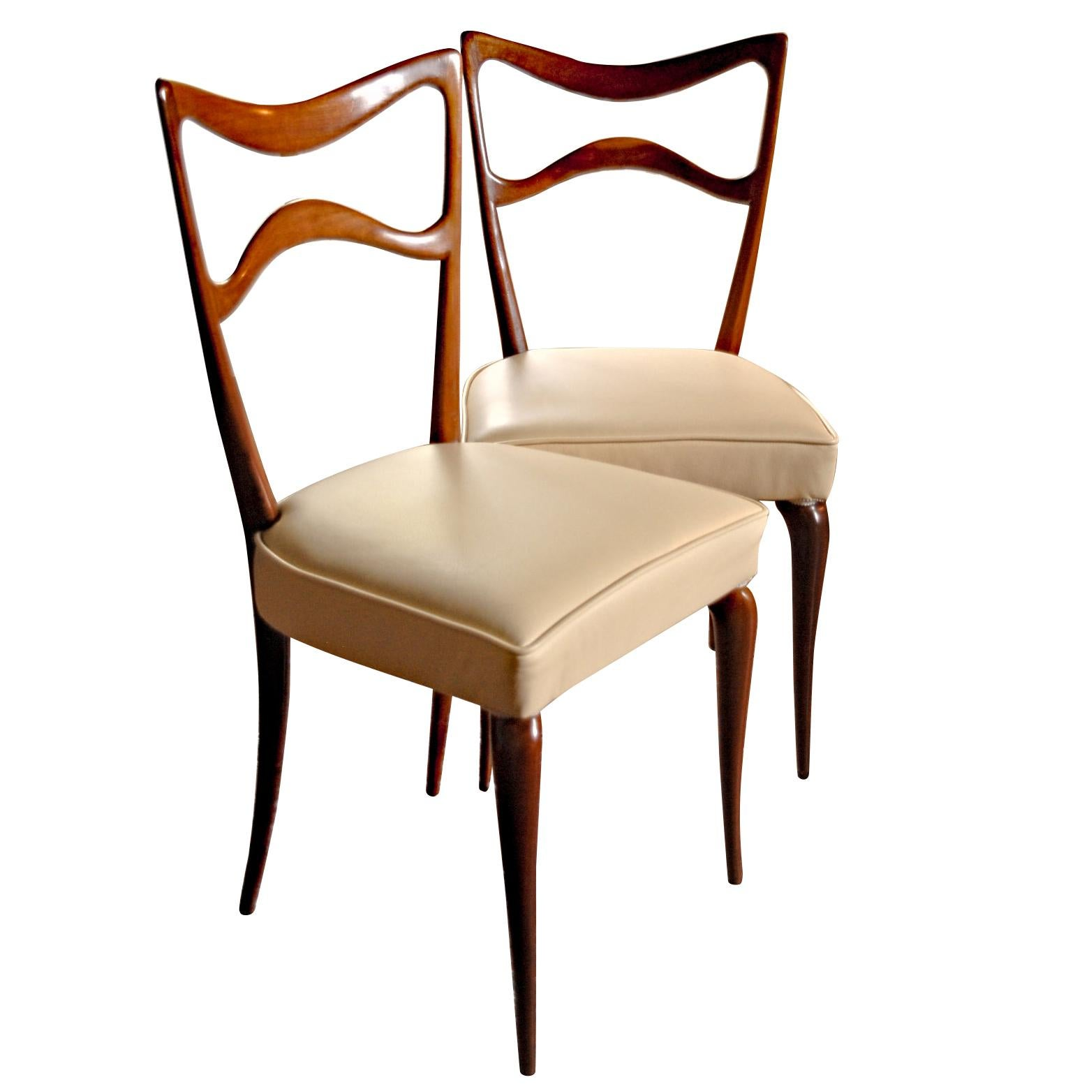 Guglielmo Ulrich Six Sculptural Dining Chairs, Mahogany and Italian leather 40s