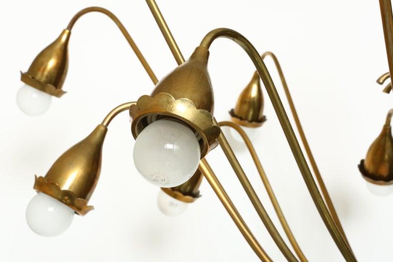 Mid-Century Modern Guglielmo Ulrich Style Brass Chandelier For Sale