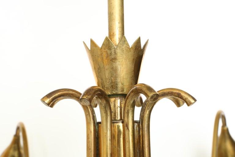 Italian Guglielmo Ulrich Style Brass Chandelier For Sale