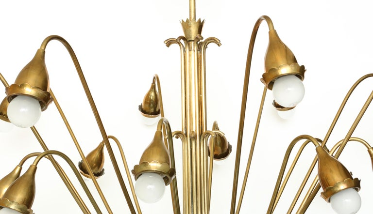 Guglielmo Ulrich Style Brass Chandelier For Sale 1