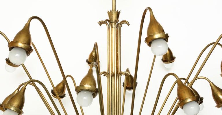 Guglielmo Ulrich Style Brass Chandelier For Sale 2
