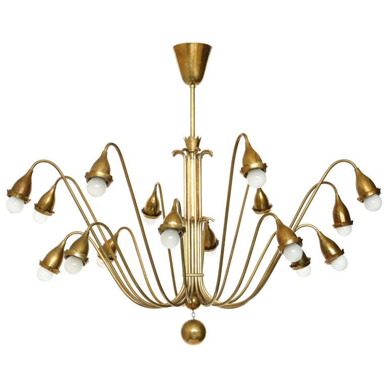 Guglielmo Ulrich Style Brass Chandelier For Sale
