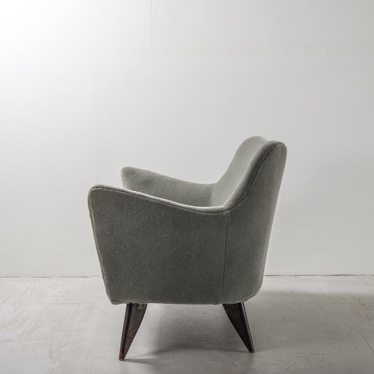 Grey-Green sofa upholstered in mohair, designed by Italian designer Guglielmo Veronesi for ISA Bergamo; circa 1950s.