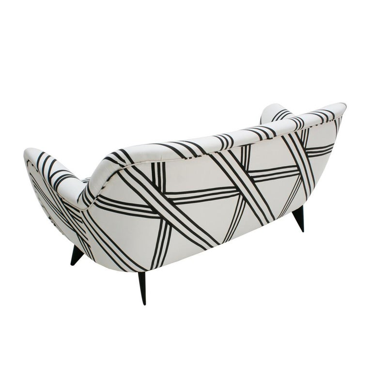 Cotton Guglielmo Veronesi for ISA Bergamo Mid-Century Modern Italian Perla Sofa For Sale