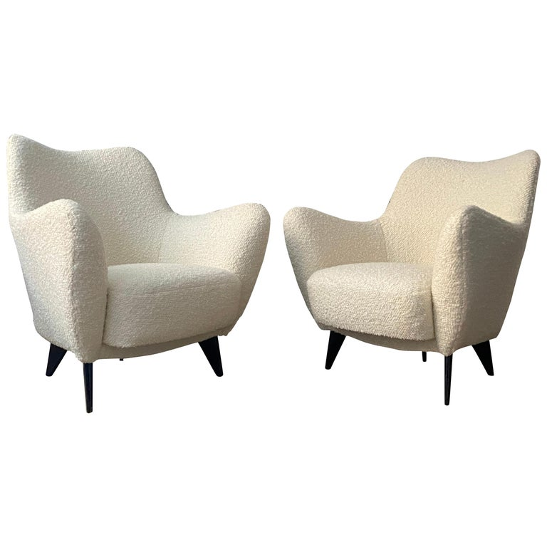 "Guglielmo Veronesi, ""Perla"" Lounge Chairs, Italy, for I.S.A. Bergamo Italy 1950s For Sale"