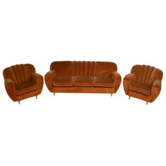 Guglielmo Ulrich Art Deco Italian Velvet Curved Sofa and Two Armchairs, 1940s
