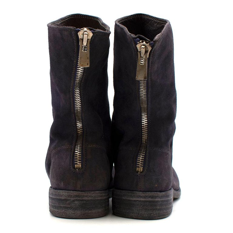 Black Guidi Suede Distressed Zipped Boots 43 For Sale