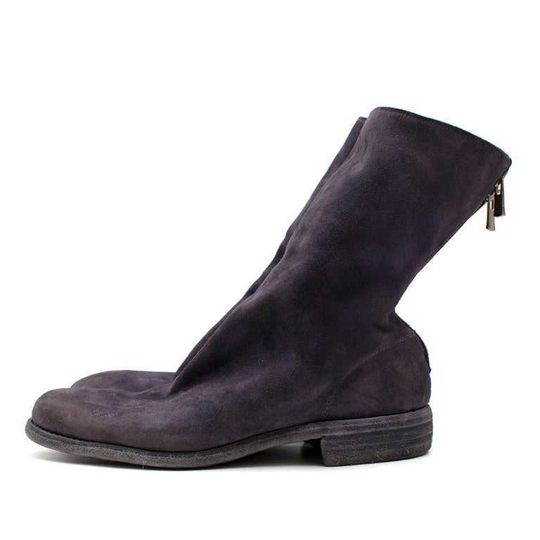 Guidi Suede Distressed Zipped Boots 43 In New Condition For Sale In London, GB