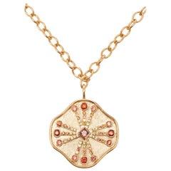 Guiding Light Pendant Necklace 14 Karat YG Orange Sapphire