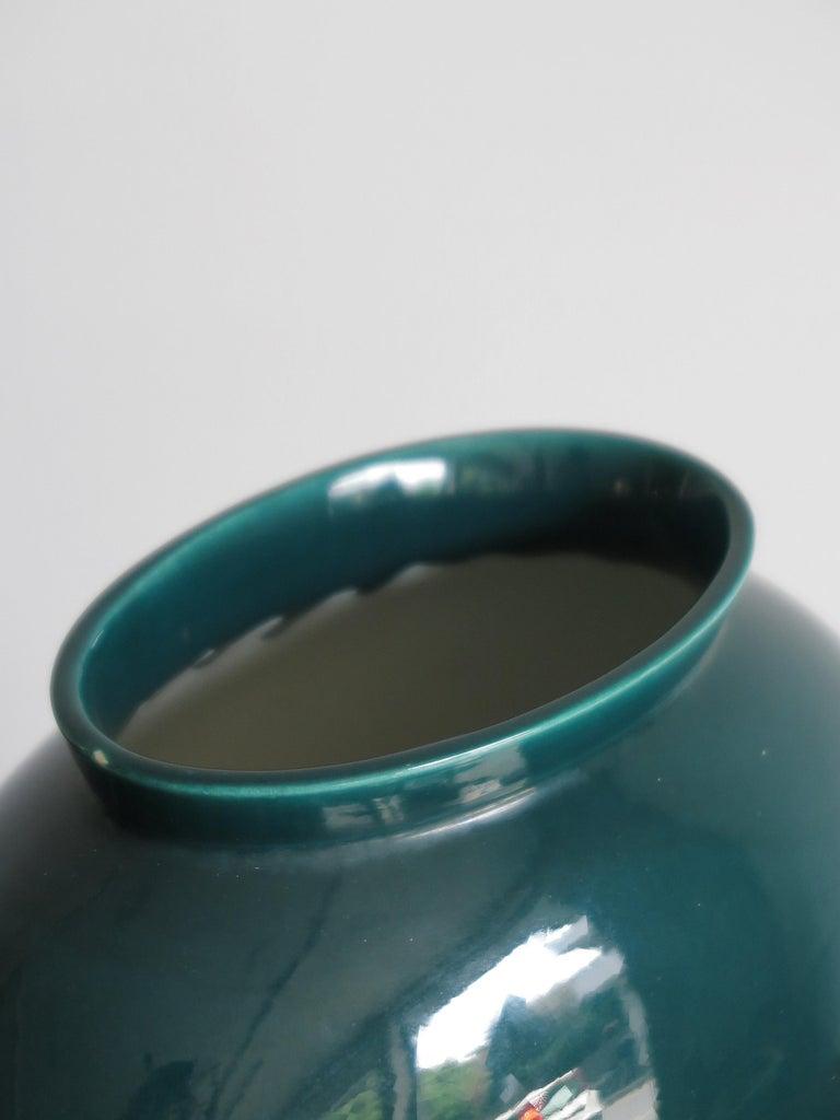 Mid-20th Century Guido Andloviz Italian Midcentury Green Ceramic Vase, 1950s For Sale