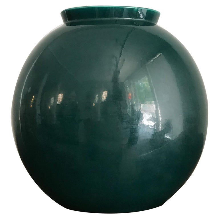Guido Andloviz Italian Midcentury Green Ceramic Vase, 1950s For Sale