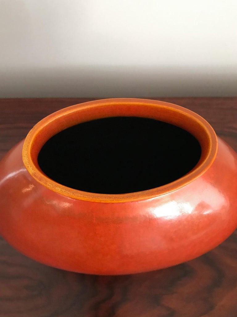 Guido Andloviz Italian Midcentury Orange Ceramic Vase, 1940s In Good Condition For Sale In Modena, IT