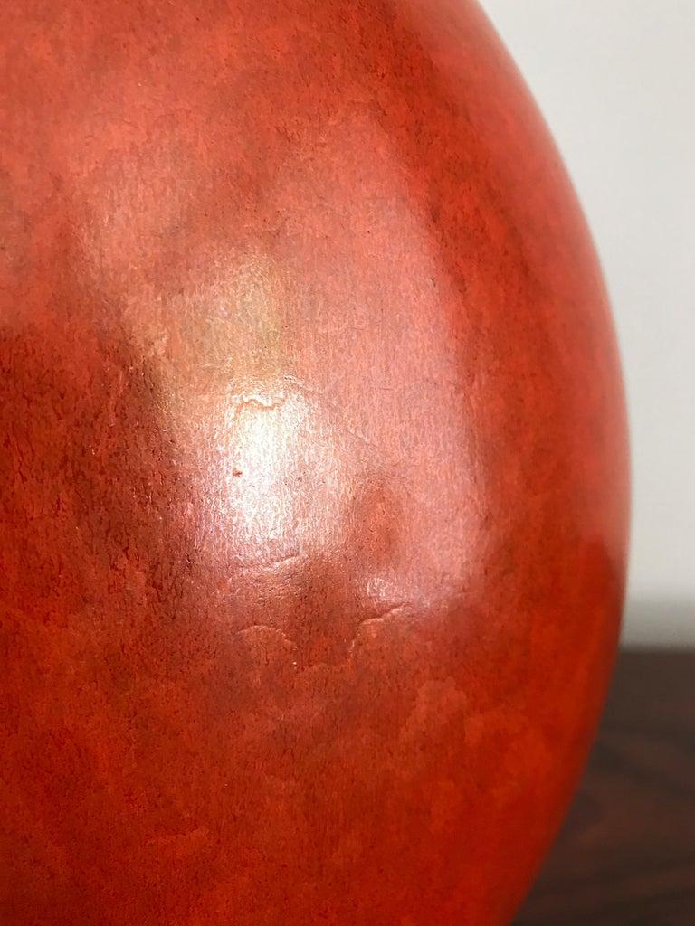 Guido Andloviz Italian Midcentury Orange Ceramic Vase, 1940s For Sale 1
