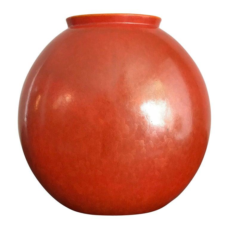 Guido Andloviz Italian Midcentury Orange Ceramic Vase, 1940s For Sale