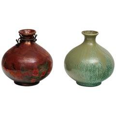 Guido Andloviz Pair of Modernist Monza 30 Ceramic Vases for S.C.I. Laveno, 1930s