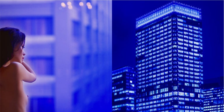 Guido Argentini Color Photograph - Thoughts across the sky - diptych of a nude model and skyscrapers in blue shades
