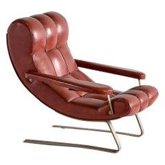 Guido Bonzani Lounge Chair in Brown Leatherette for Tecnosalotto, Italy, 1970s