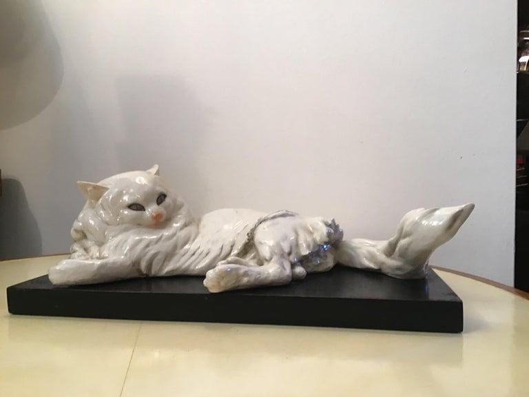 Italian Guido Cacciapuoti Ceramic Cat Base  Black Lacquered Wood, 1940 For Sale
