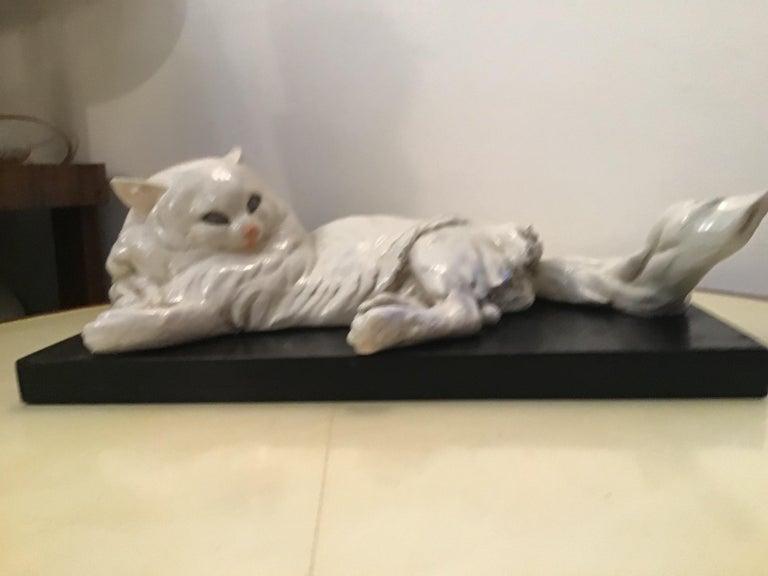 Guido Cacciapuoti Ceramic Cat Base  Black Lacquered Wood, 1940 For Sale 1