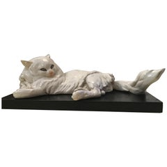 Guido Cacciapuoti Ceramic Cat Base  Black Lacquered Wood, 1940