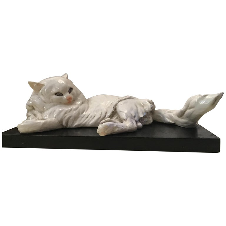 Guido Cacciapuoti Ceramic Cat Base  Black Lacquered Wood, 1940 For Sale