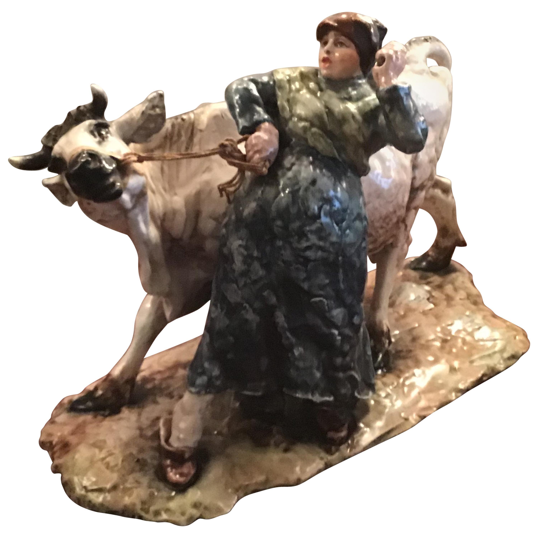 "Guido Cacciapuoti ""Cow with Peasant Woman"" Ceramic, 1940, Italy"
