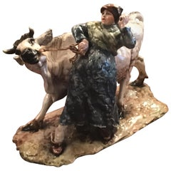 "Guido Cacciapuoti ""Cow with Peasant Woman"" Ceramic, 1940, Italy"