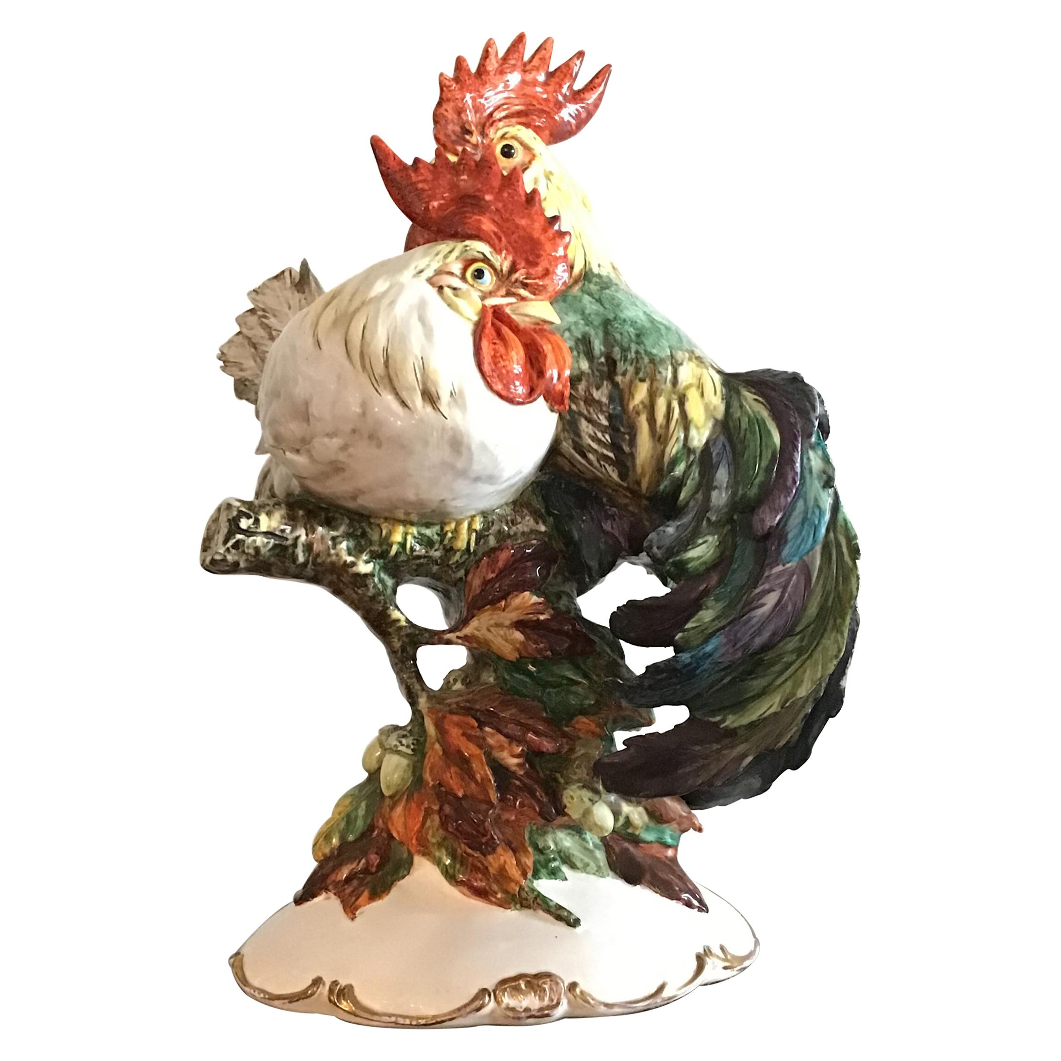 Guido Cacciapuoti Rooster and Hen Ceramic, 1940, Italy
