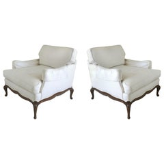 Guido DeAngelis Provincial Bergere Club Chairs with Down Cushions, a Pair