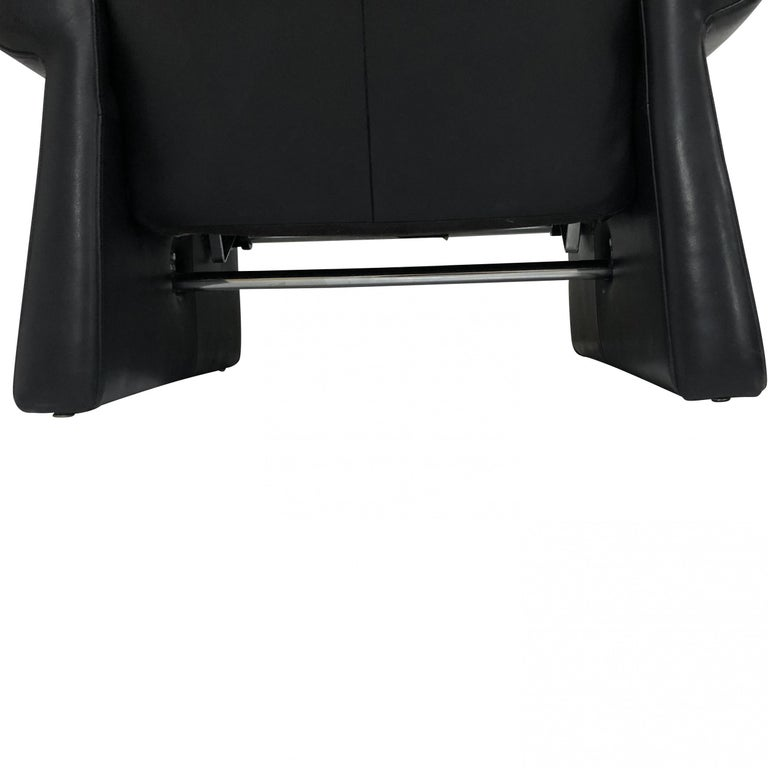Guido Faleschini Black Leather a Lounge Chair and Ottoman, Italy 1970 Pace For Sale 3