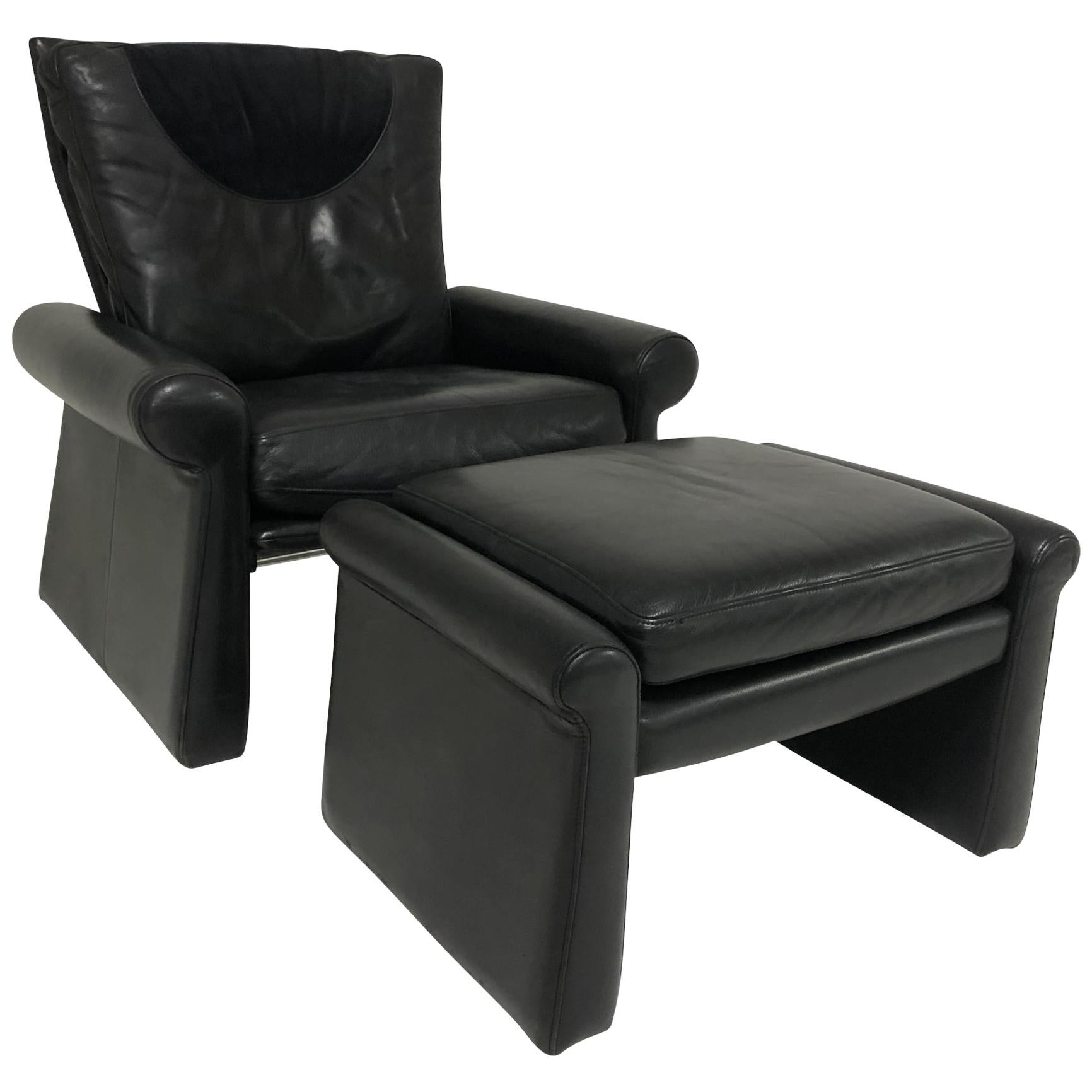 Guido Faleschini Black Leather a Lounge Chair and Ottoman, Italy 1970 Pace
