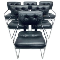"""Guido Faleschini Black Leather """"Tucroma"""" Dining Chairs for Pace, Set of Six"""